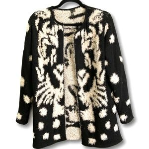 VIP Black/White Eyelash Knit Open Front Cardigan M